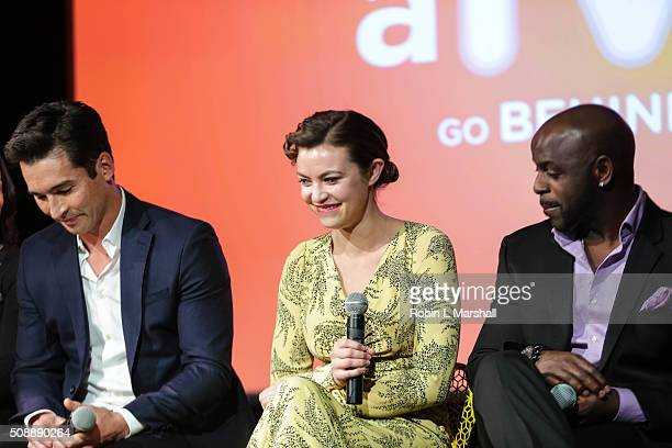 Jay Hayden Elvy Yost and Alimi Ballard attend aTVfest on February 6 2016 in Atlanta Georgia