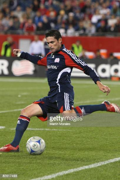 Jay Heaps of the New England Revolution handles the ball against DC United at Gillette Stadium on August 20 2008 in Foxborough Massachusetts The Revs...