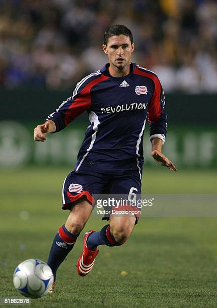 Jay Heaps of the New England Revolution runs to the ball during their MLS match against the Los Angeles Galaxy at the Home Depot Center on July 4...