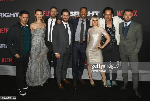 Jay Hernandez Lucy Fry David Ayer Edgar Ramirez Will Smith Noomi Rapace Enrique Murciano and Joel Edgerton attend the Premiere Of Netflix's 'Bright'...