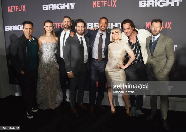 Jay Hernandez Lucy Fry David Ayer Edgar Ramirez Will Smith Noomi Rapace Enrique Murciano and Joel Edgerton attend the LA Premiere of Netflix Films...