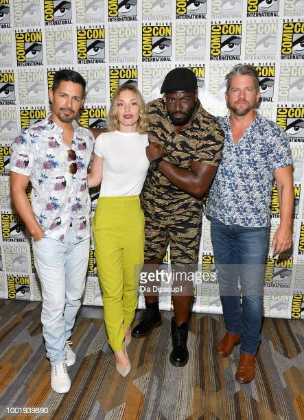 Jay Hernandez Perdita Weeks Stephen Hill and Zachary Knighton of 'Magnum PI' attend CBS Television Studios Press Line during ComicCon International...