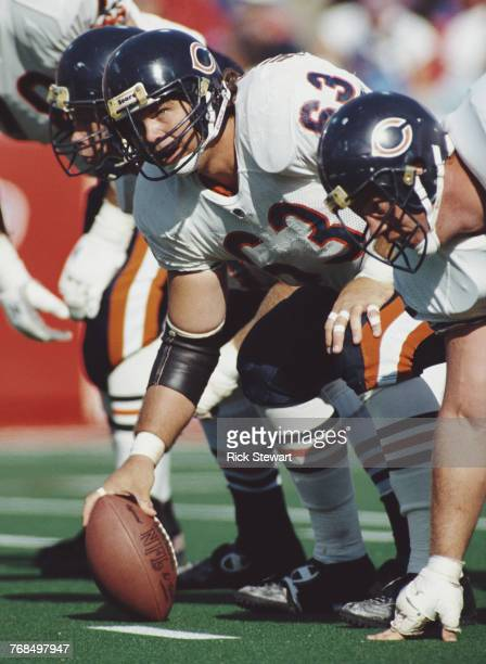 Jay Hilgenberg Center for the Chicago Bears prepares to take the snap during the American Football Conference East game against the Buffalo Bills on...