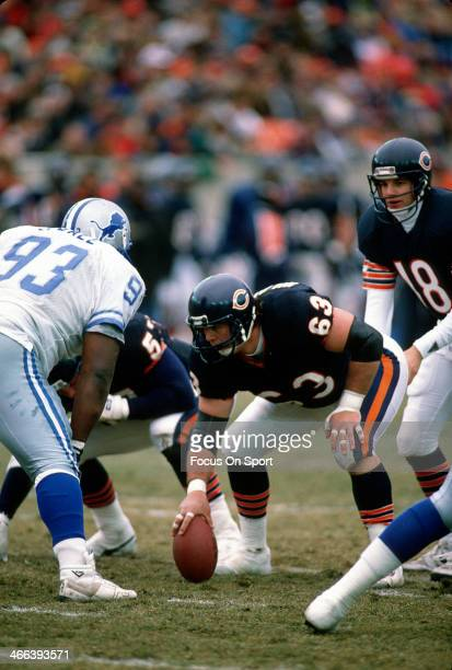 Jay Hilgenberg of the Chicago Bears in action against the Detroit Lions during an NFL football game December 10 1989 at Soldier Field in Chicago...