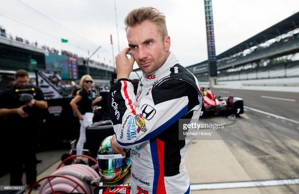 Jay Howard is seen during practice for the Indianapolis 500 at Indianapolis Motor Speedway on May 19, 2017 in Indianapolis, In.