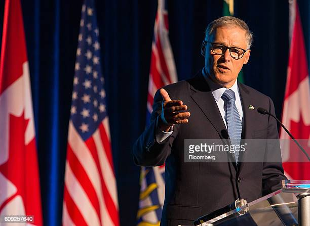 Jay Inslee governor of Washington speaks during the Emerging Cascadia Innovation Corridor Conference in Vancouver British Columbia Canada on Tuesday...