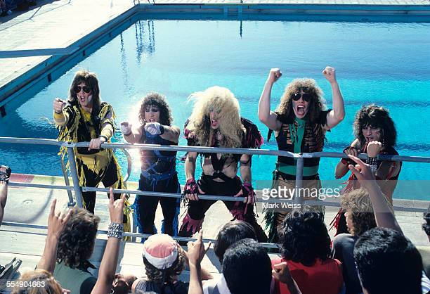 Jay Jay French AJ Pero Dee Snider Mark Mendoza and Eddie Ojeda of Twisted Sister on the set of the video shoot for their single 'I Wanna Rock' Los...