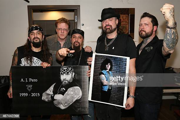 Jay Jay French of Twisted Sister Mike Portnoy Mike Orlando Russell Allen and Erik Leonhardt from Adrenaline Mob seen backstage during the AJ Pero...