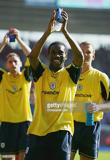 Jay Jay Okocha of Bolton Wanderers celebrates their victory during the FA Barclaycard Premiership match between Southampton and Bolton Wanderers at...