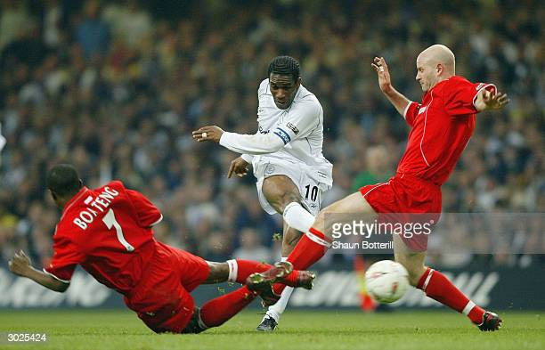 Jay Jay Okocha of Bolton Wanderers fires in a shot during the Carling Cup Final match between Bolton Wanderers and Middlesbrough at The Millennium...