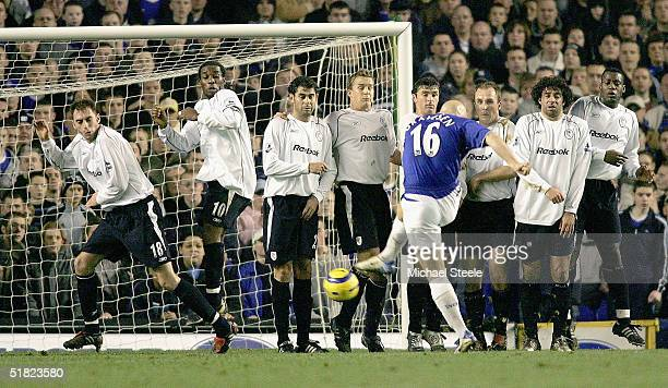 Jay Jay Okocha of Bolton was controversially penalised for encroaching at a free kick by Thomas Gravesen of Everton during the Barclays Premiership...