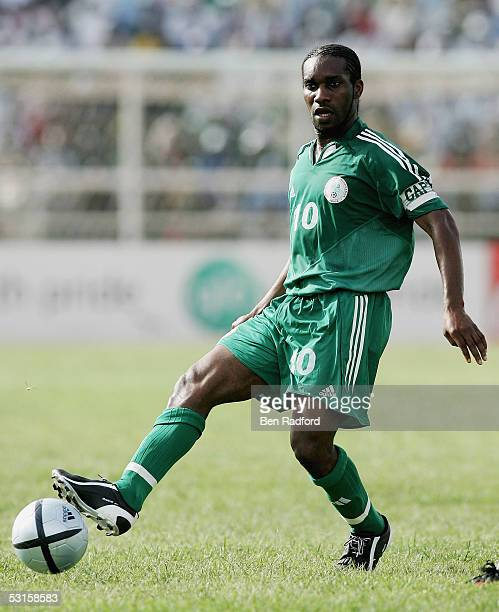 Jay Jay Okocha of Nigeria in action during the 2006 World Cup Qualifying match between Nigeria and Angola at the Sany Abacha Stadium on June 18 in...