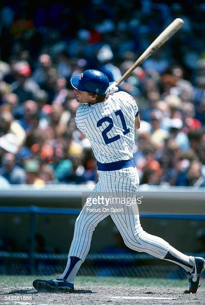 Jay Johnstone of the Chicago Cubs bats during a Major League Baseball game circa 1984 at Wrigley Field in Chicago Illinois Johnstone played for the...