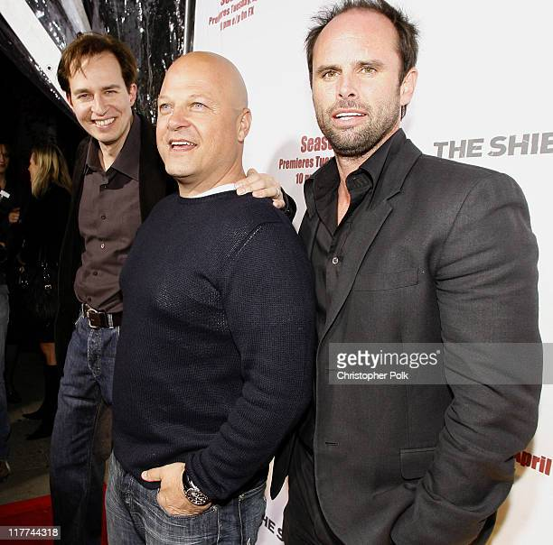 """Jay Karnes, Michael Chiklis and Walton Goggins during """"The Shield"""" Season 6 Premiere and Season 5 DVD Launch Party - Red Carpet at Cabana Club in..."""