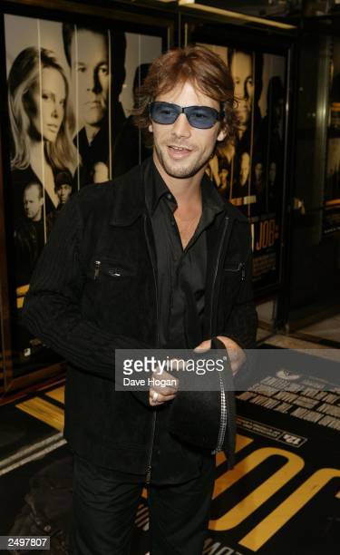 """Jay Kay attends the UK charity premiere of """"The Italian Job"""" at the Empire, Leicester Square on September 15, 2003 in London."""