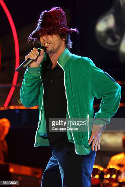 Jay Kay the lead singer of Jamiroquai performs on stage at the one day Festivalbar music festival at Piazza Castello on June 4 2005 in Turin Italy