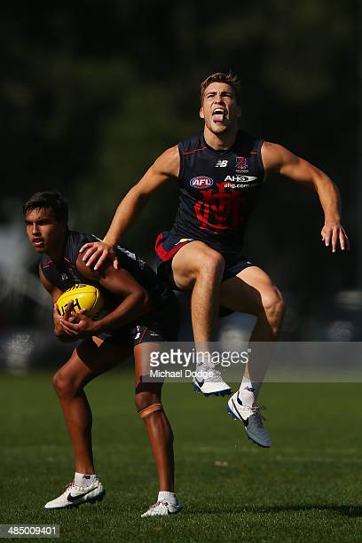 Jay KennedyHarris and Jack Viney contest for the ball during a Melbourne Demons AFL training session at Gosch's Paddock on April 16 2014 in Melbourne...