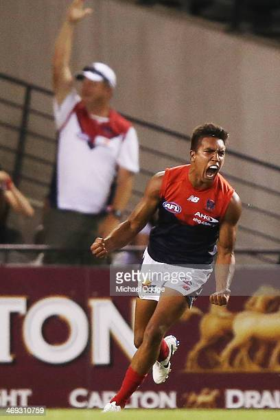 Jay KennedyHarris of the Demons celebrates a goal during the round one AFL NAB Challenge Cup match between the Richmond Tigers and the Melbourne...