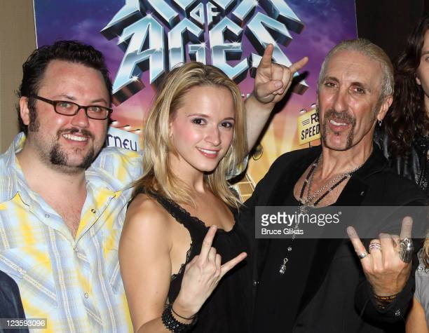Jay Kleitz Emily Padgett and Dee Snider pose at The Opening Night Party for his debut in Rock of Ages on Broadway at The Glass House Tavern on...