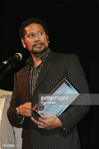 Jay Laga'aia accepts the award for Best Kids Show during the 2007 Sydney Theatre Awards at the Paddington RSL on January 21 2008 in Sydney Australia