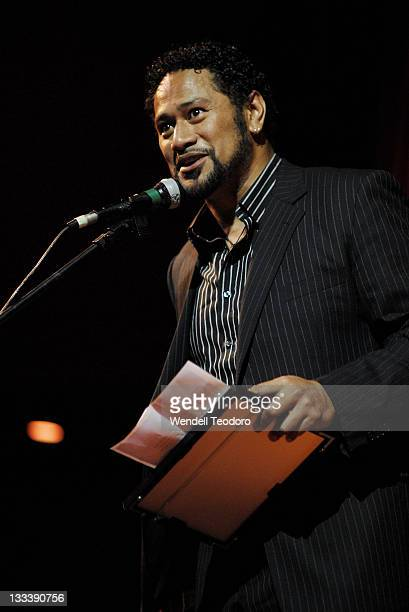 Jay Laga'aia accepts the award for best Production for Children during the 2007 Sydney Theatre Awards at the Paddington RSL on January 21 2008 in...