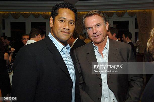 Jay Laga'aia and Sam Neill during Fourth Annual Celebration of New Zealand Filmmaking and Creative Talent Pre Oscar Dinner at The Beverly Hills Hotel...