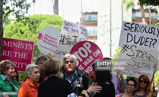 Jay Leno arrives on May 5 2014 for a demonstration in support of Women's Rights and LGBT groups across from the Beverly Hills Hotel owned by the...