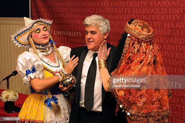 Jay Leno attends the Hasty Pudding 2011 Man of The Year Awards with cast members of Hasty Pudding Theatricals at Harvard University on February 4...