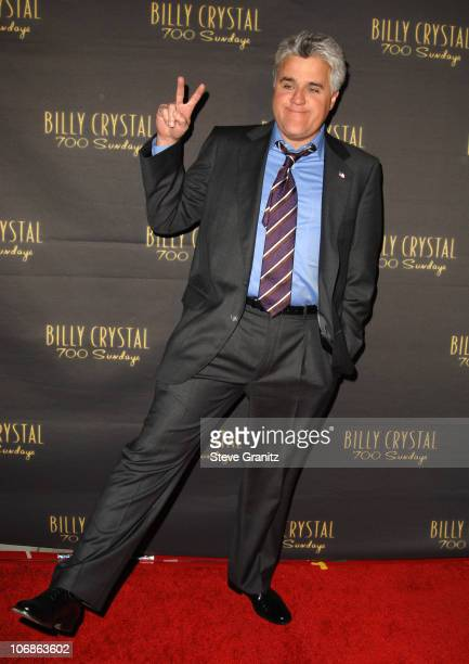 """Jay Leno during Los Angeles Opening Night of The Tony Award Winning Broadway Show Billy Crystal """"700 Sundays"""" at Wilshire Theatre in Beverly Hills,..."""