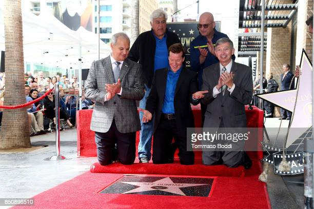 Jay Leno Jeff Dunham Howie Mandel and Leron Gubler attend a ceremony honoring Jeff Dunham with a Star On The Hollywood Walk Of Fame on September 21...
