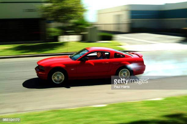 Jay Leno road tests a 2005 Shelby Mustang GT for a British newspaper American Television personality Jay Leno who hosted the late night NBC 'Tonight...