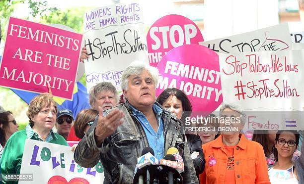 Jay Leno speaks at a gathering of Women's Rights and LGBT groups protesting across from the Beverly Hills Hotel owned by the Sultan of Brunei...