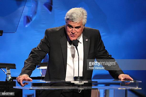 Jay Leno speaks on stage at the 30th Anniversary Carousel Of Hope Ball at The Beverly Hilton Hotel on October 25, 2008 in Beverly Hills, California.
