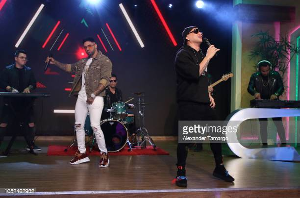 Jay Maly and Jacob Forever are seen on the set of 'Despierta America' at Univision Studios on October 18 2018 in Miami Florida
