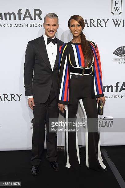 Jay Manuel and Iman attend the 2015 amfAR New York Gala at Cipriani Wall Street on February 11 2015 in New York City