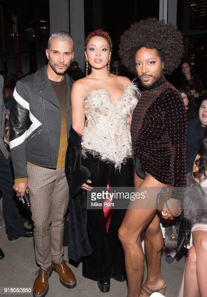 Jay Manuel Jillian Hervey and guest attend The Blonds fashion show during New York Fashion Week The Shows at Spring Studios on February 13 2018 in...