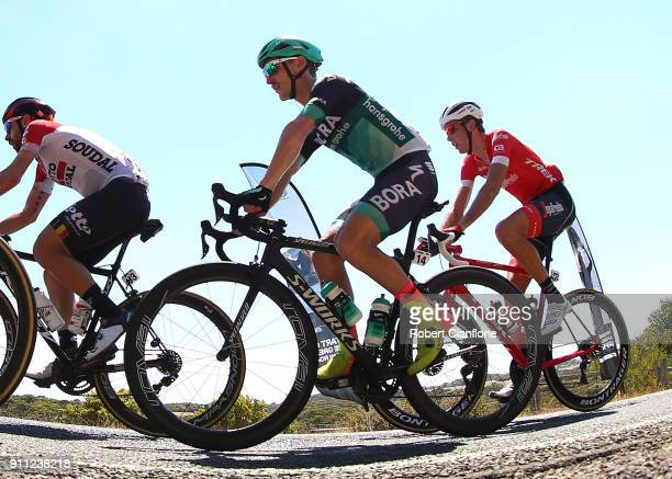 Jay McCarthy of Australia and BoraHansgrohe rides during the Cadel Evans Great Ocean Road Race on January 28 2018 in Geelong Australia