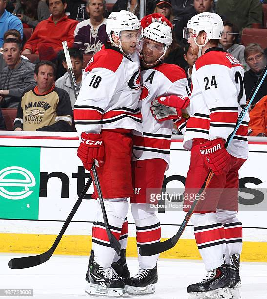 Jay McClement Andrej Sekera and Brad Malone of the Carolina Hurricanes celebrate McClement's second period goal against the Anaheim Ducks on February...