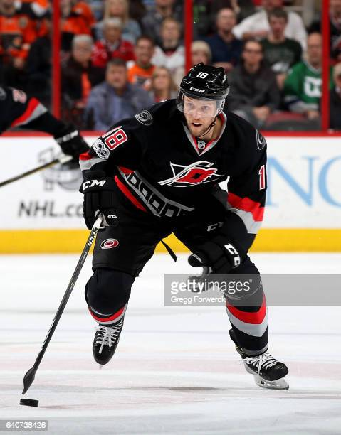 Jay McClement of the Carolina Hurricanes carries the puck during an NHL game against the Philadelphia Flyers on January 31 2017 at PNC Arena in...