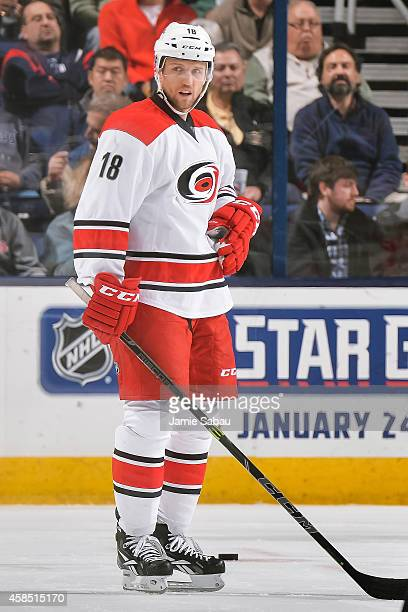 Jay McClement of the Carolina Hurricanes skates against the Columbus Blue Jackets on November 4 2014 at Nationwide Arena in Columbus Ohio