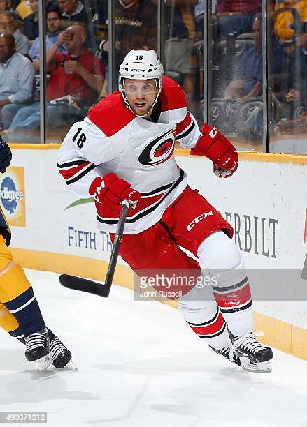 Jay McClement of the Carolina Hurricanes skates against the Nashville Predators during an NHL game at Bridgestone Arena on October 8 2015 in...