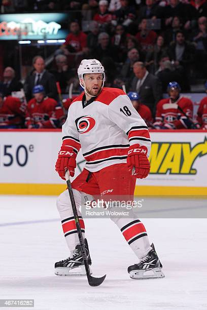 Jay McClement of the Carolina Hurricanes skates during the NHL game against the Montreal Canadiens at the Bell Centre on March 19 2015 in Montreal...
