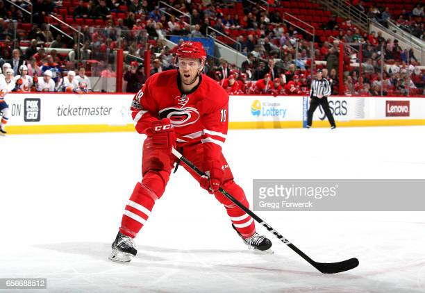 Jay McClement of the Carolina Hurricanes skates for position on the ice during an NHL game against the New York Islanders on March 14 2017 at PNC...