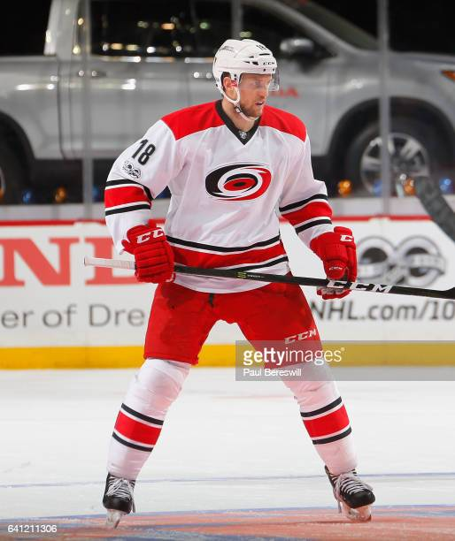 Jay McClement of the Carolina Hurricanes skates in an NHL hockey game against the New York Islanders at Barclays Center on February 4 2017 in the...