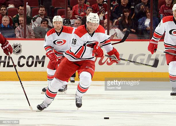 Jay McClement of the Carolina Hurricanes skates with the puck against the Arizona Coyotes at Gila River Arena on February 5 2015 in Glendale Arizona
