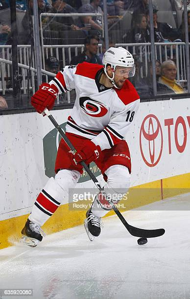 Jay McClement of the Carolina Hurricanes skates with the puck against the San Jose Sharks at SAP Center on December 10 2016 in San Jose California