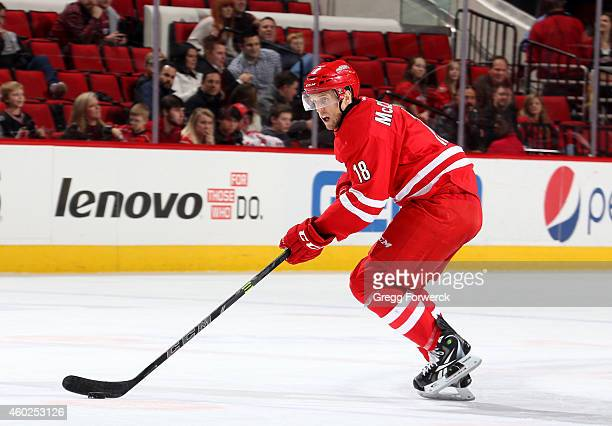 Jay McClement of the Carolina Hurricanes skates with the puck during their NHL game against the Washington Capitals at PNC Arena on December 4 2014...