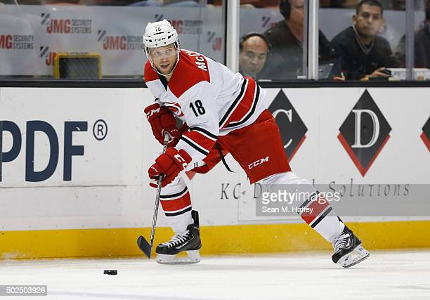 Jay McClement of the Carolina Hurricanes skates with the puck during a game against the Anaheim Ducks at Honda Center on December 11 2015 in Anaheim...