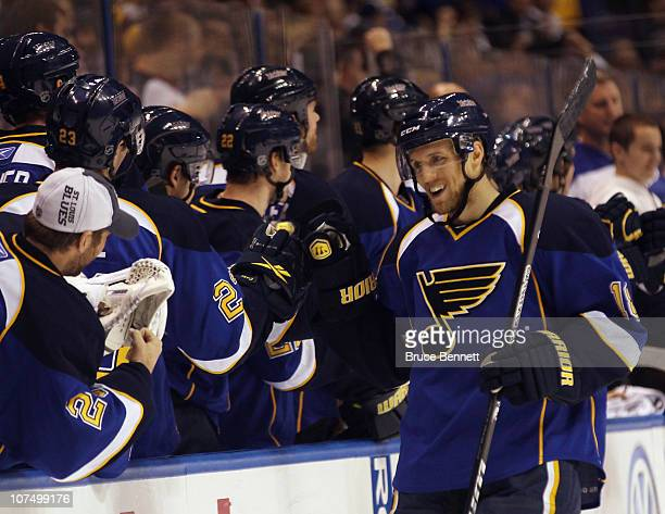 Jay McClement of the St Louis Blues returns to the bench after scoring a power play goal at 1319 against the Columbus Blue Jackets at the Scottrade...