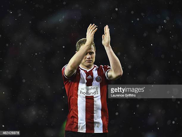 Jay McEveley of Sheffield United applauds the fans after the Capital One Cup SemiFinal Second Leg match between Sheffield United and Tottenham...